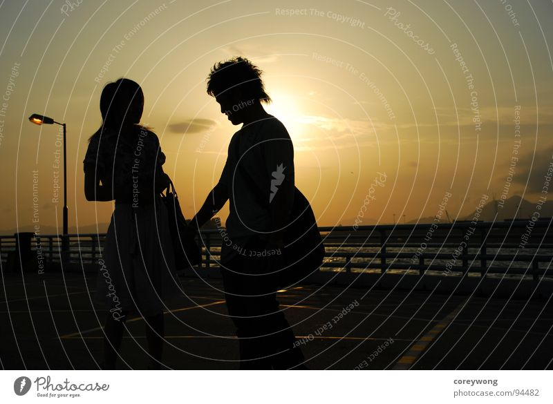 Lovers' silhouette Sunset Silhouette lovers sunrise backlighting friendship underexposure outline sweet sweetness courtship romance romantic