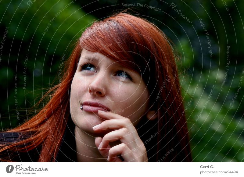 Woman Blue Hand Green Beautiful Face Eyes Think Young woman Fear Skin Vantage point Piercing Long-haired Wisdom Red-haired
