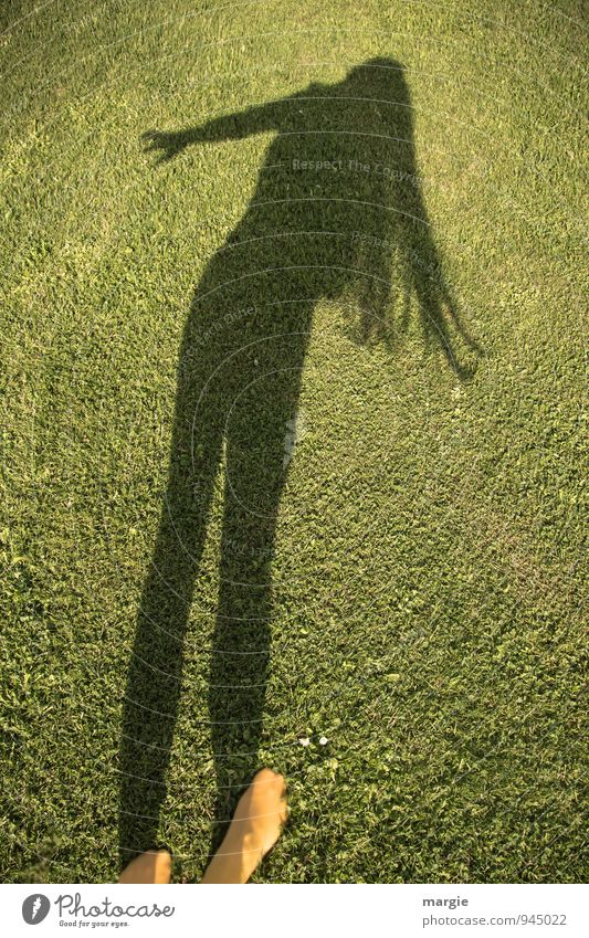 Lawn dance: the shadow of a woman with long hair dancing across the lawn Human being Feminine Young woman Youth (Young adults) Woman Adults Hair and hairstyles