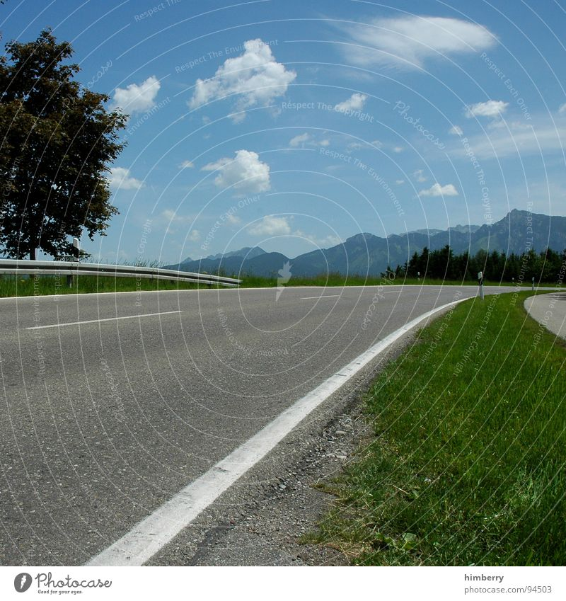 streetlife royal Tree Clouds Asphalt Crash barrier Summer Meadow Country road Allgäu Traffic infrastructure Street Landscape Mountain Lawn