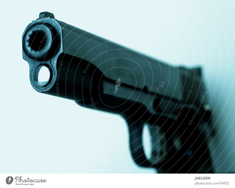 gun's for hire Aggression Threat Dark Free Cold Blue Black White Dangerous Force Hatred Peace Handgun Automatic Weapon Criminality Emotion design Colour photo