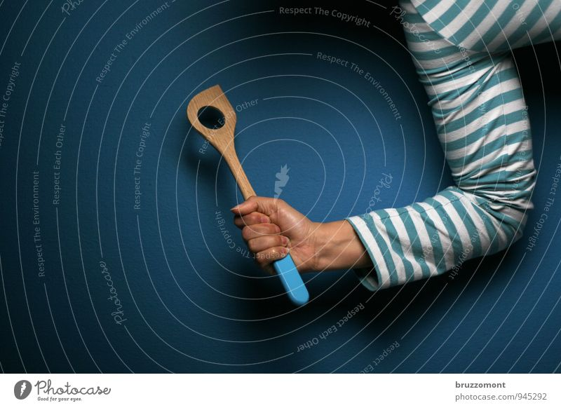 Blue Hand Arm Beginning Cooking & Baking Make Striped Determination Spoon Rebellious Resolve Wooden spoon Hoop stripe t-shirt