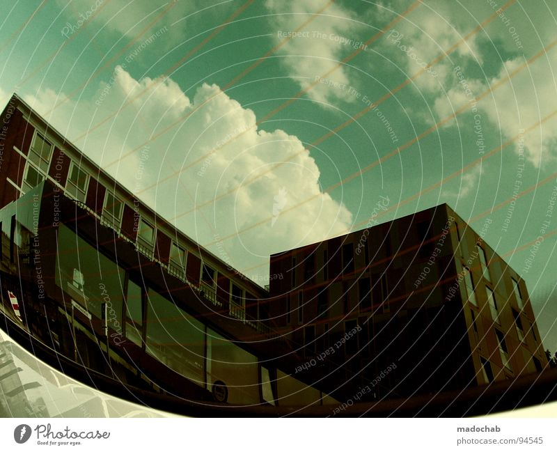 Sky Green Clouds House (Residential Structure) Window Architecture Building Line Glass Broken Level Concentrate Frankfurt Surrealism Front side