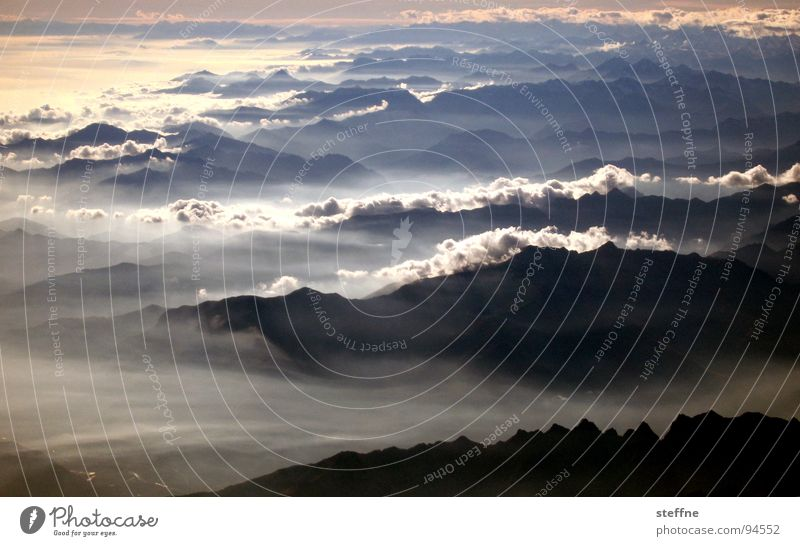 Sky Clouds Mountain Airplane Fog Switzerland Italy Alps