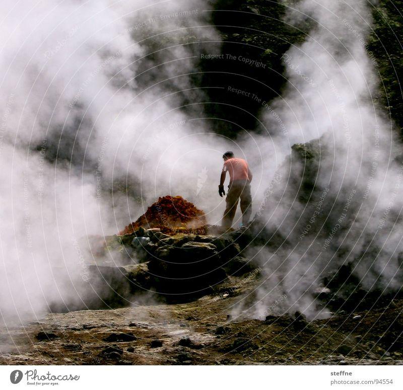 volcano worker Italy Naples Sulphur Working man Smoke Physics Work and employment Red Yellow Black White Green Tourist Souvenir Services Fire Blaze Stone
