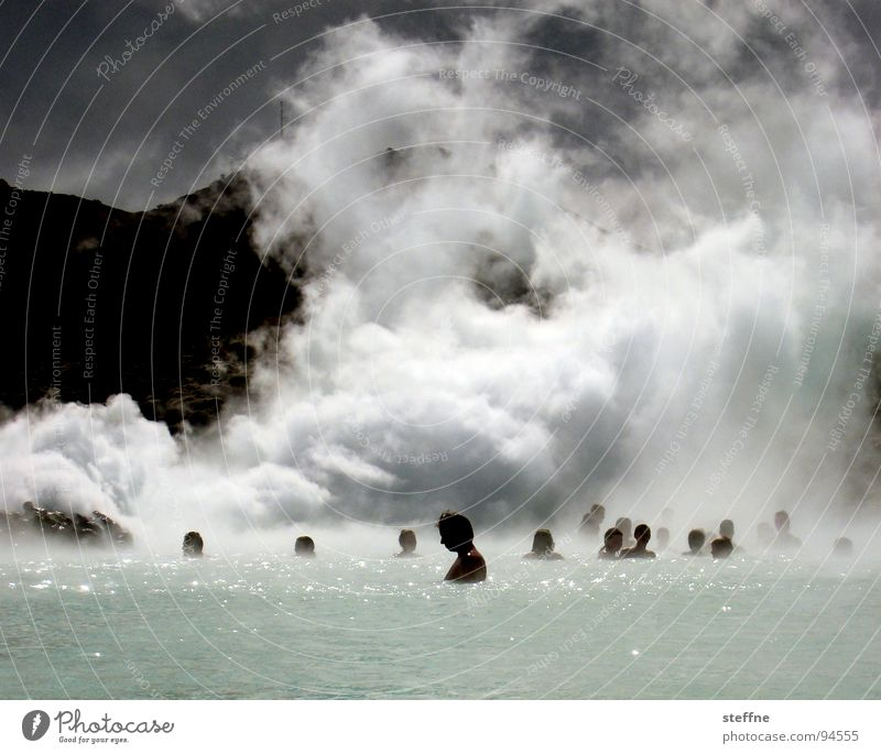 Man Water Relaxation Loneliness Clouds Calm Mountain Warmth Healthy Group Swimming & Bathing Blaze Bathroom Swimming pool Peace Smoke