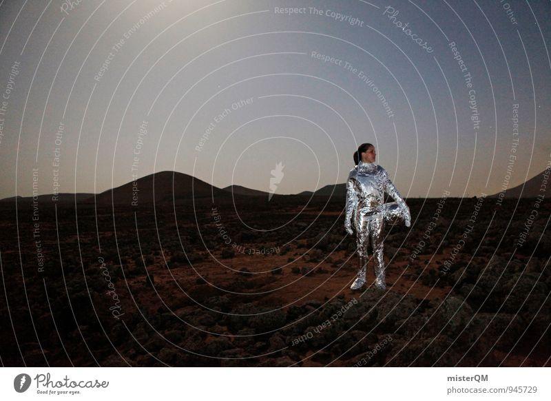 Which Way. Art Work of art Esthetic Adventure Woman Moon Moonlight Moon landing Martian landscape Mars Celestial bodies and the universe Universe