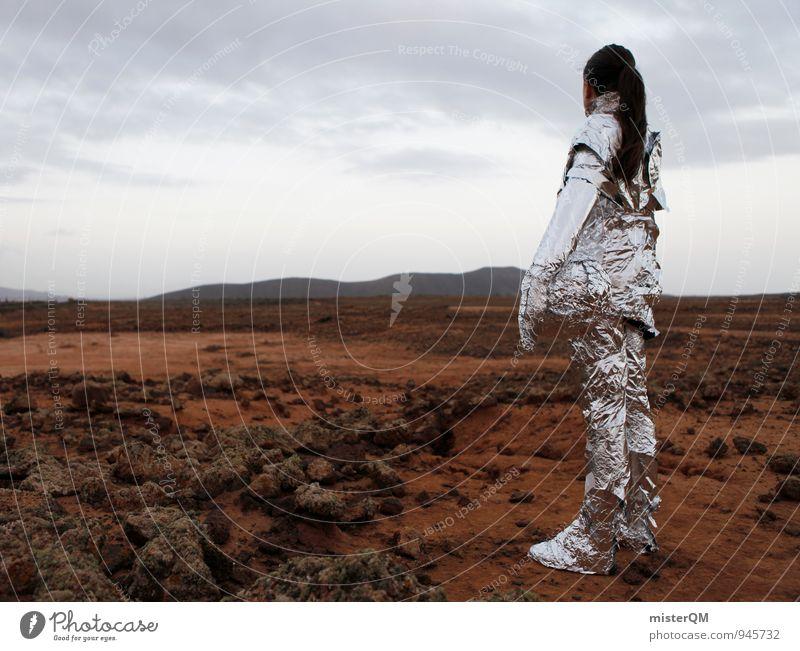 Woman Loneliness Landscape Art Success Esthetic Future Universe Wanderlust Futurism Work of art Extraterrestrial being Astronaut Mars Astronautics Martian landscape