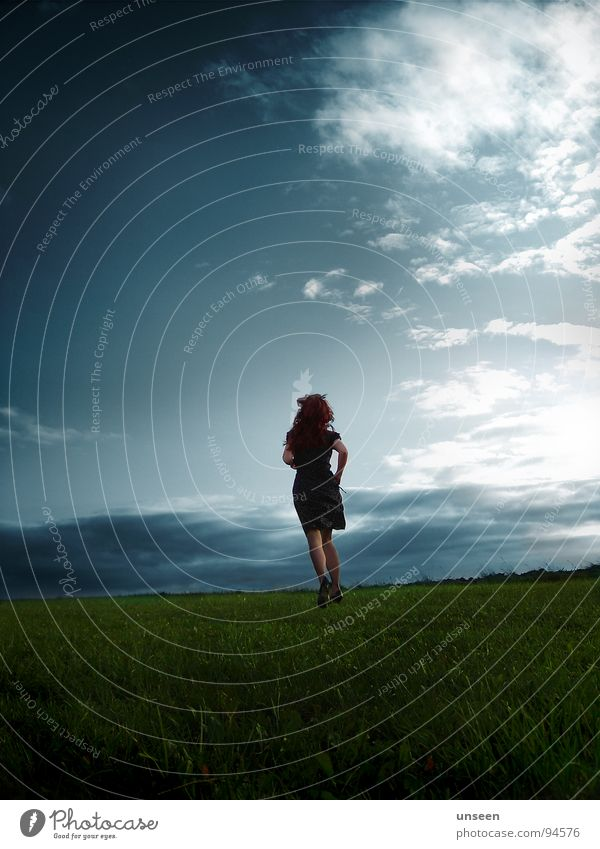 Woman Sky Blue Green Clouds Far-off places Meadow Autumn Movement Freedom Lanes & trails Hair and hairstyles Dream Perspective Dress
