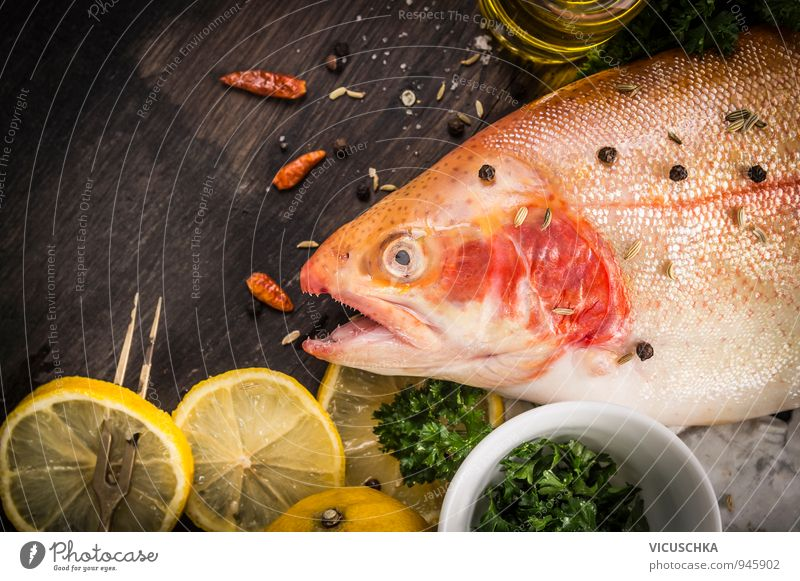 Rainbow trout raw with lemon, oil and spices Food Fish Fruit Herbs and spices Nutrition Banquet Nature Soft Design Background picture Trout Preparation Lemon