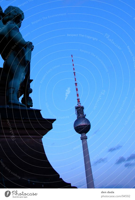 Berlin TV Tower Fishing rod Sunset Twilight Historic Modern Landmark Monument Angel tv tower dawn twilight Old and New architecture