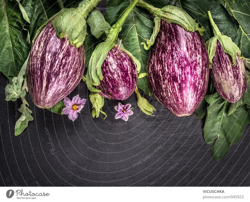 Aubergines with leaves and flowers on a dark slate table Food Vegetable Organic produce Vegetarian diet Diet Lifestyle Design Healthy Eating Leisure and hobbies