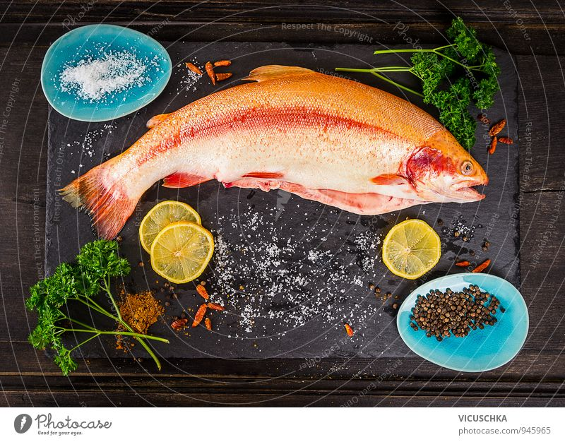 Whole rainbow trout fish with spices Food Fish Vegetable Herbs and spices Nutrition Lunch Dinner Banquet Organic produce Vegetarian diet Diet Plate Bowl