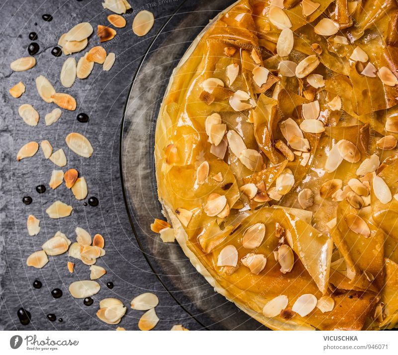 Filo pastry cake with rose water syrup and almonds Food Dough Baked goods Dessert Candy Nutrition Lunch To have a coffee Banquet Vegetarian diet Diet Plate