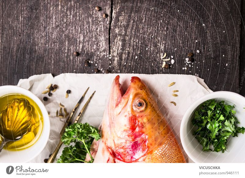 Rainbow trout, oil and spices on white paper. Food Fish Herbs and spices Cooking oil Banquet Fork Lifestyle Healthy Eating Leisure and hobbies Nature Tradition