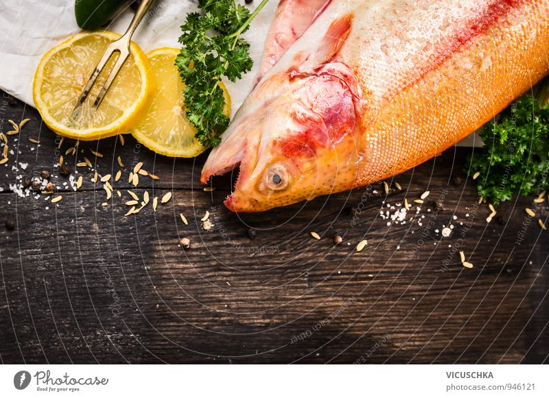 raw rainbow trout fish with lemon Food Fish Vegetable Fruit Herbs and spices Nutrition Banquet Organic produce Vegetarian diet Diet Lifestyle Design
