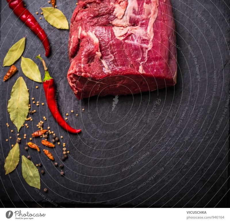 Raw beef fillet with spices on black slate Food Meat Herbs and spices Nutrition Dinner Banquet Organic produce Diet Lifestyle Design Healthy Eating