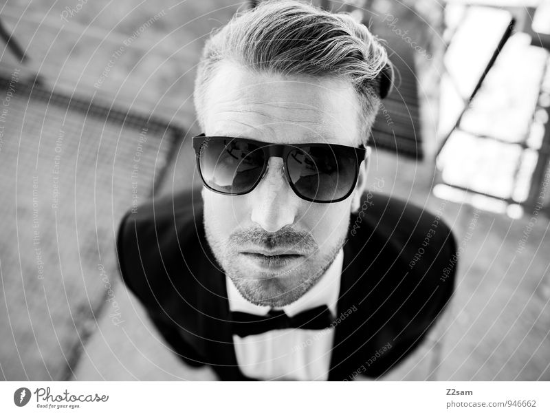 stylers Lifestyle Elegant Style Masculine Young man Youth (Young adults) 30 - 45 years Adults Fashion Shirt Suit Sunglasses Bow tie Blonde Short-haired Looking