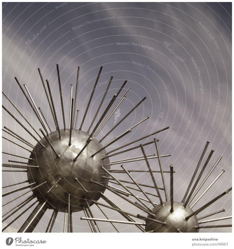 Metal Modern Round Well Sphere Dresden Sculpture Saxony Thorny Work of art Rod Fountain Bacterium High-grade steel Pincushion Sputnik