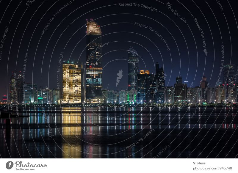 Abu Dhabi Capital city Skyline High-rise Tower Manmade structures Building Architecture Tourist Attraction Discover Glittering Illuminate Kitsch Black