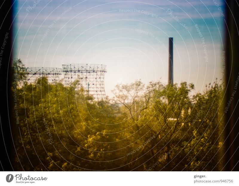 AST7 Pott | Herbstidylle Essen Town Outskirts Skyline Industrial plant Factory Tower Manmade structures Blue Yellow Green The Ruhr Chimney Grating Window pane