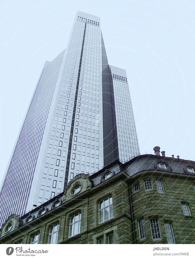 Sky Old Blue City Architecture Style Glass Concrete Modern High-rise New Historic Steel Frankfurt Main Insurance
