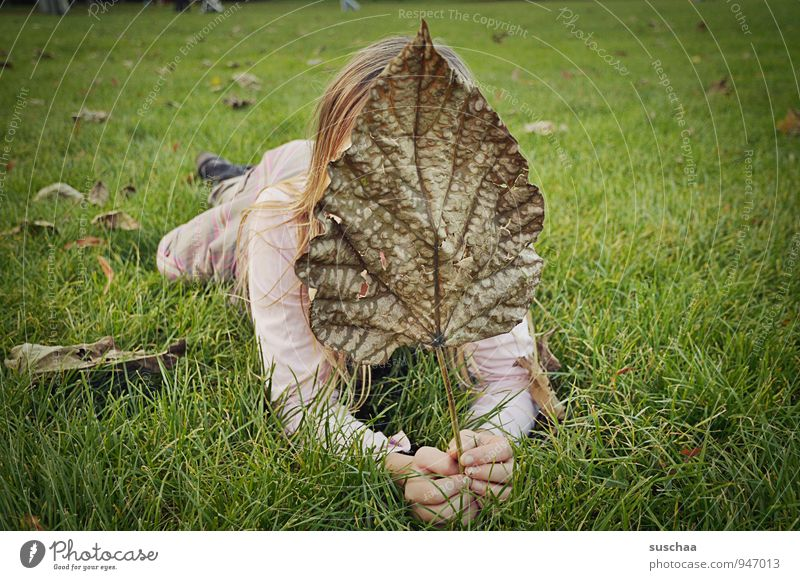 sheet in front of face Feminine Child Girl Infancy Body Skin Hair and hairstyles Hand Fingers 1 Human being 8 - 13 years Environment Nature Autumn Grass Leaf
