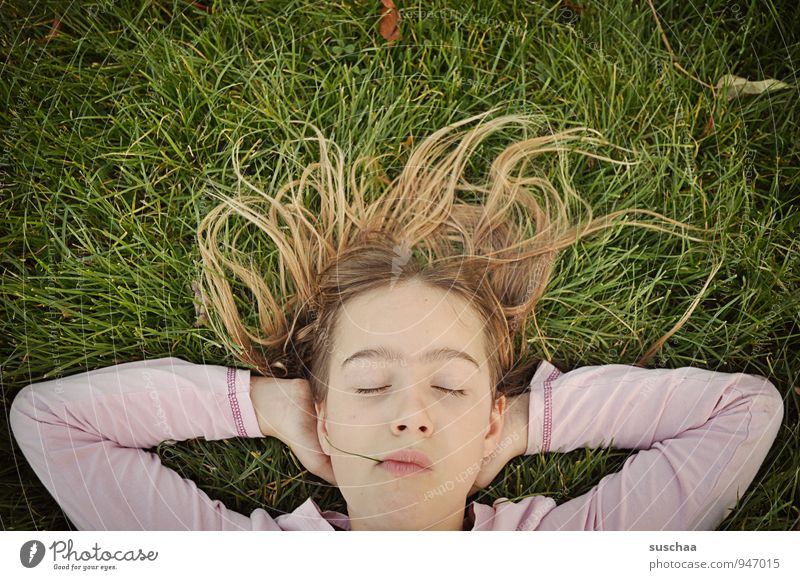 chill II Child Girl Infancy Parenting Serene Dreamily Easygoing Daydream Head Hair and hairstyles Face Eyes Ear Nose Mouth Lips 8 - 13 years Nature Grass Meadow