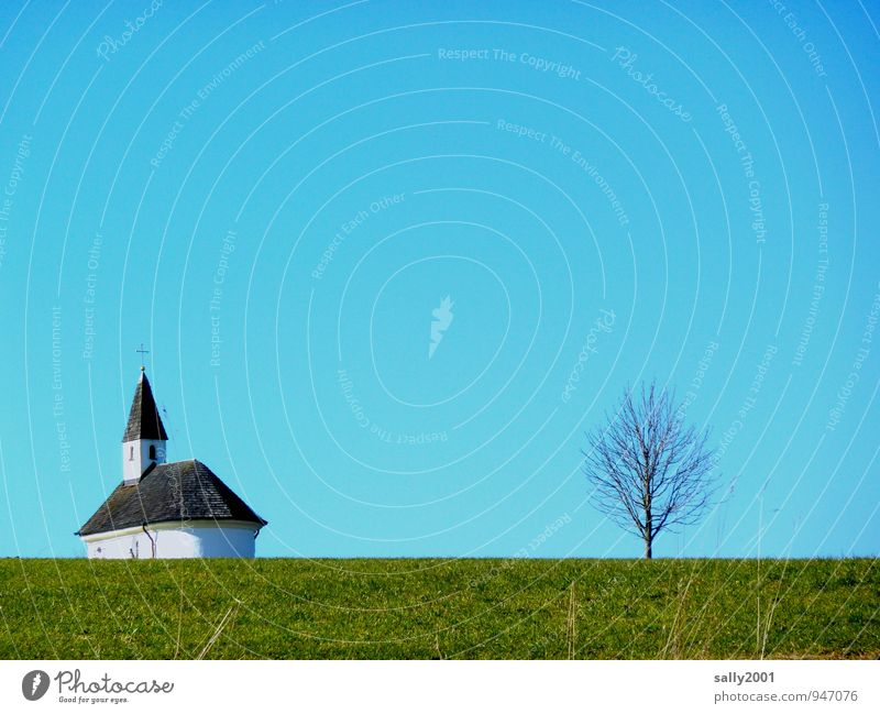 Sky Green Tree Loneliness Winter Meadow Grass Religion and faith Line Perspective Church Simple Cloudless sky Christian cross Stagnating Chapel