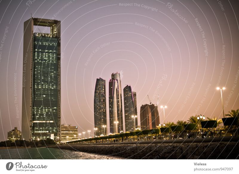 Abu Dhabi Night Tourism Adventure Far-off places Sightseeing City trip Capital city Skyline High-rise Bridge Tower Manmade structures Building Architecture
