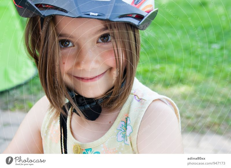 sure Sports Cycling Girl Helmet Smiling Illuminate Happy Smart Athletic Responsibility Dependability Conscientiously Caution Adventure Movement Relaxation