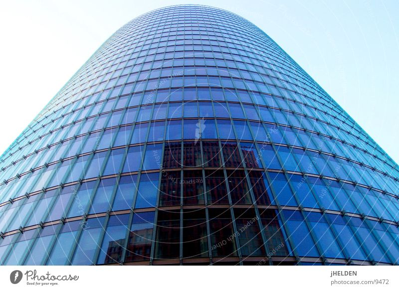 Blue City Berlin Architecture Style Germany Glass Modern High-rise Might Round Steel Upward Vertical Central