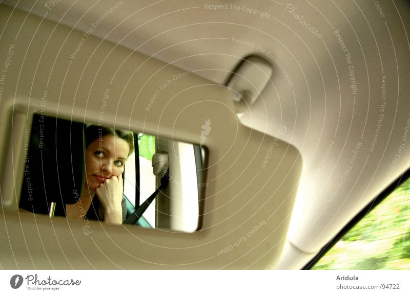 Woman Hand Green Face Vacation & Travel Window Car Wait Driving Observe Mirror Highway Boredom Beige Insulted Sulk
