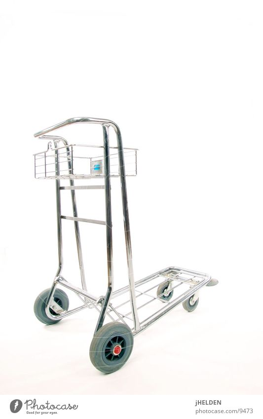 White Airport Wheel Trade Shopping Trolley Chrome Cart Isolated Image Shopping basket