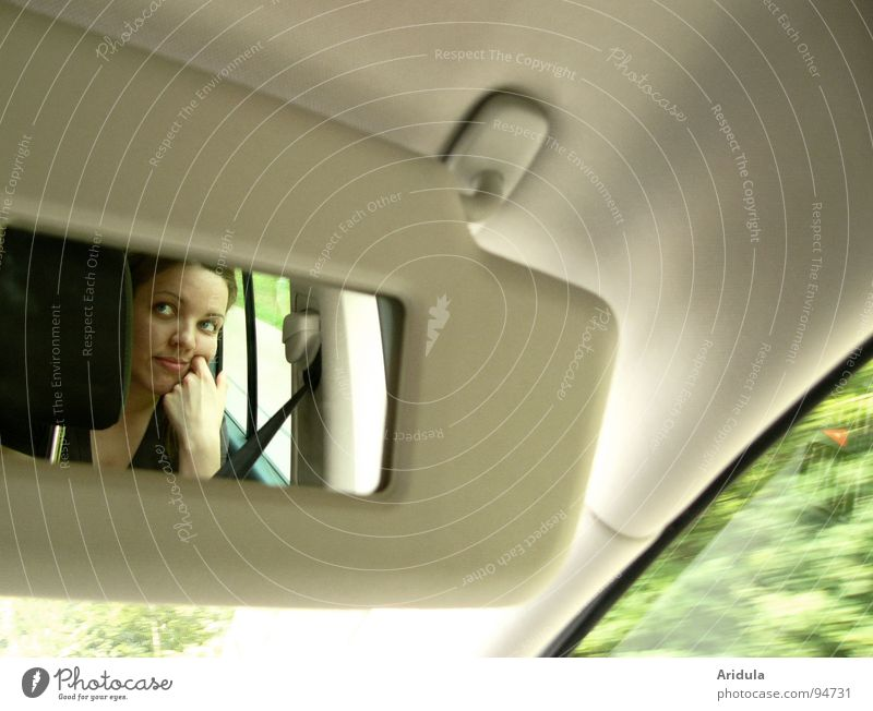 Woman Hand Green Face Laughter Car Sit Driving Observe Mirror Boredom Beige Aperture Sulk
