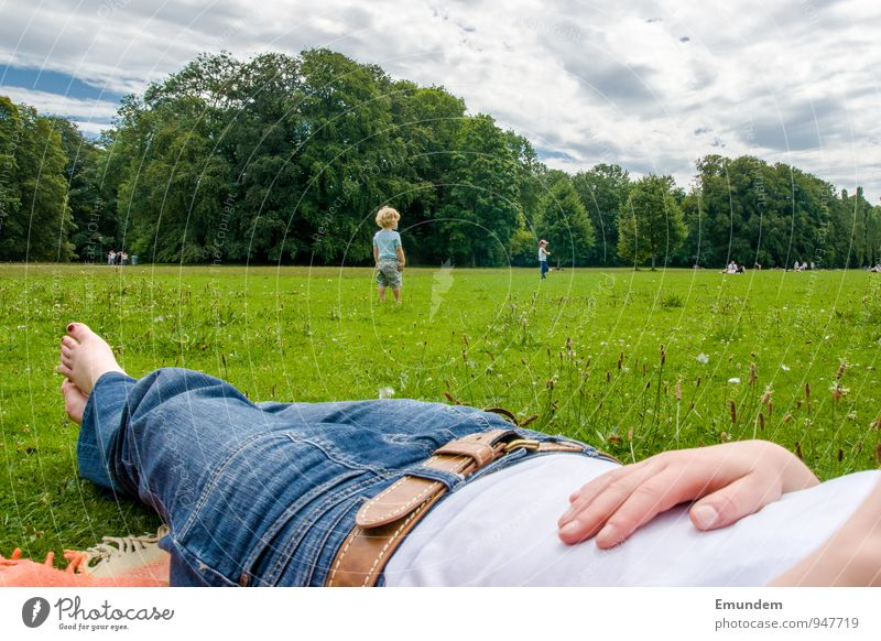 Green Summer Relaxation Clouds Meadow Grass Feet Lie Park Trip Jeans Toes Nail polish The Englischer Garten