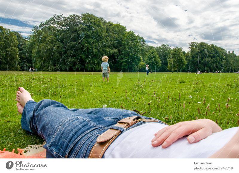 summer Trip Summer Grass Jeans Lie Green Relaxation Park Meadow The Englischer Garten Clouds Feet Nail polish Toes Colour photo Exterior shot Day