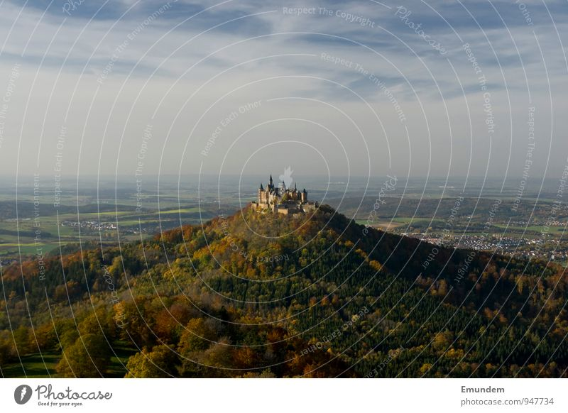 Hohenzollern II Vacation & Travel Tourism Trip Landscape Sky Autumn Forest Hill pant Germany Europe Deserted Castle Castle Hohenzollern Hiking Old Swabian Jura