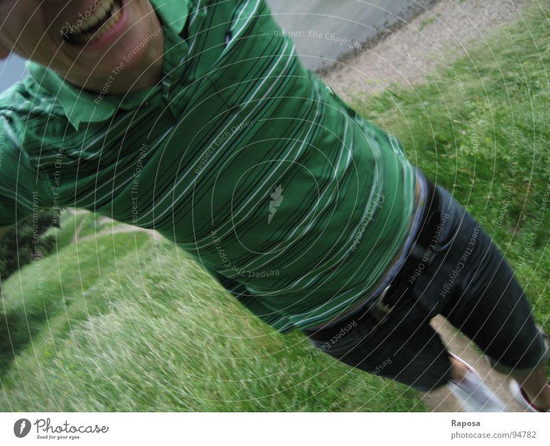 jump Man Green T-shirt Striped Movement Beach Gravel Pants Footwear White Belt Jump Show your teeth Upper body Joy Water Elbe Pillnitz Stone Jeans polo shirt