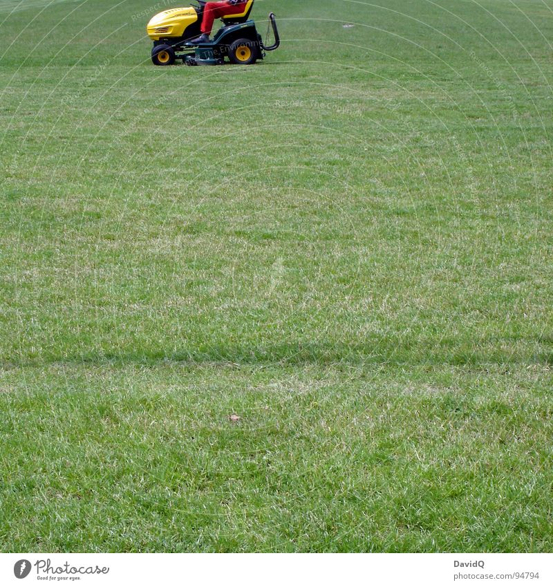 lawn barber Sporting grounds Meadow Tractor Lawnmower Cut Green Yellow Red Leisure and hobbies Services Haircut Stopper trim Mow the lawn from right to left