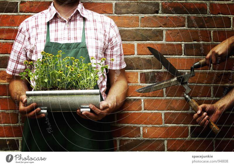 Man Nature Green Flower Summer Joy Wall (building) Blossom Funny Whimsical Cut Scissors Headless Gardener Tool Apron