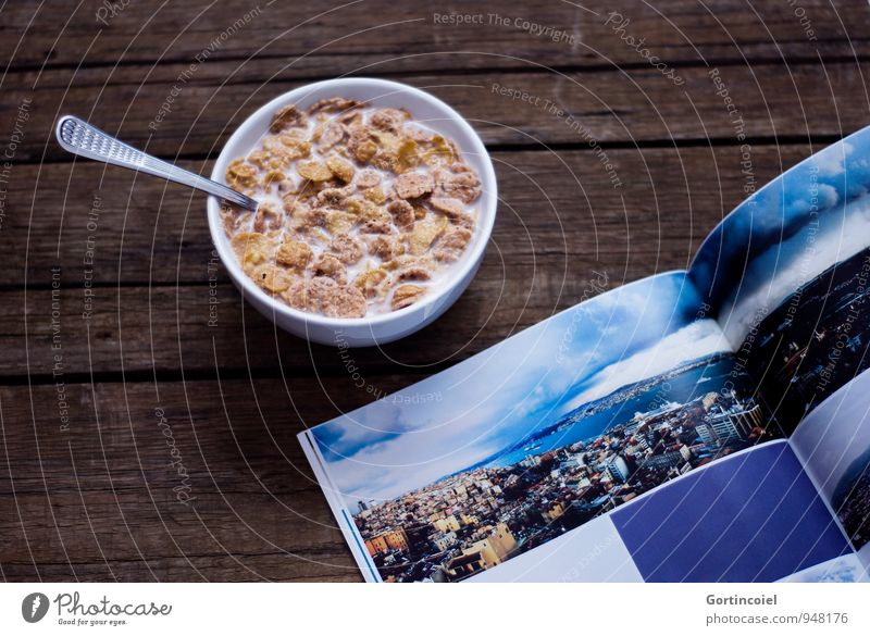 snack Food Nutrition Breakfast Milk Bowl Spoon Delicious Sweet Cornflakes Magazine photo book Photography Book Wooden table Snack Colour photo Interior shot