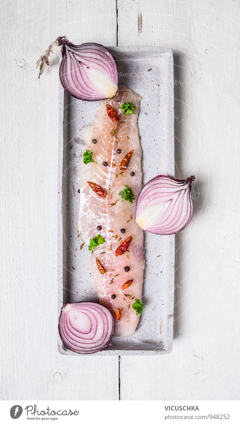 Herring filet with halves red onion Food Fish Vegetable Herbs and spices Nutrition Lunch Dinner Banquet Organic produce Vegetarian diet Diet Healthy Eating