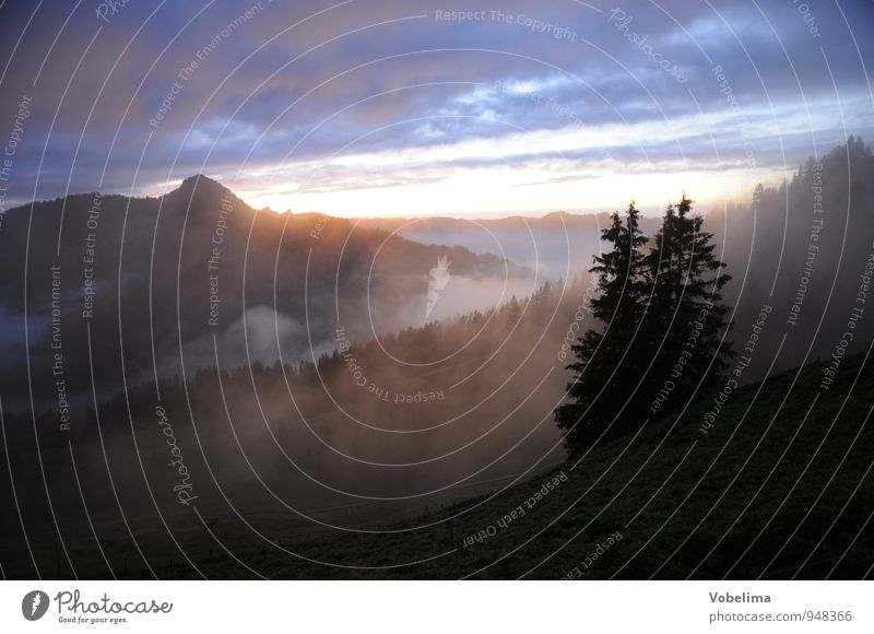 Evening at the Druesberghütte Mountain Hiking Nature Landscape Elements Sky Clouds Sunrise Sunset Weather Fog Peak Blue Brown Black White Sadness