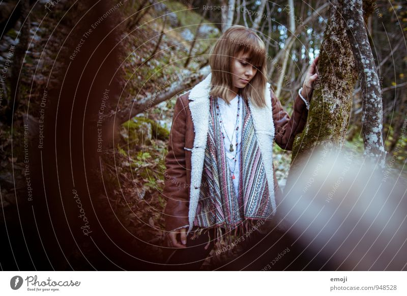 between them Feminine Young woman Youth (Young adults) 1 Human being 18 - 30 years Adults Forest Beautiful Natural Autumn Colour photo Exterior shot Day