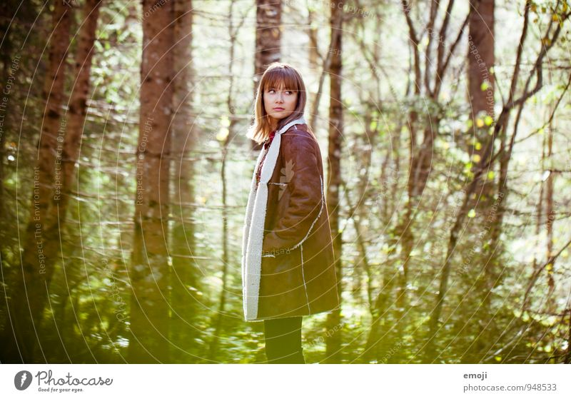 autumn colours Feminine Young woman Youth (Young adults) 1 Human being 18 - 30 years Adults Autumn Beautiful weather Forest Natural Colour photo Exterior shot