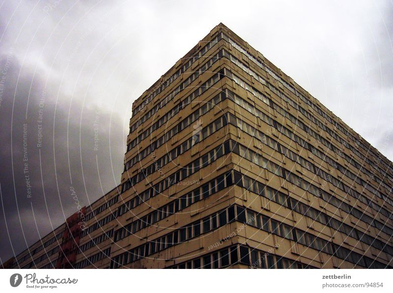 klutz House (Residential Structure) New settlement Flat (apartment) Alexanderplatz Facade Worm's-eye view Story Window Central perspective Vacancy Storm Clouds