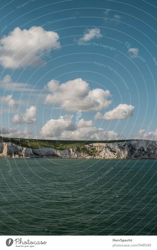 channel crossing Sky Clouds Beautiful weather Waves Coast Ocean English Channel North Sea Island Great Britain England Dover White Cliffs Maritime Blue Green