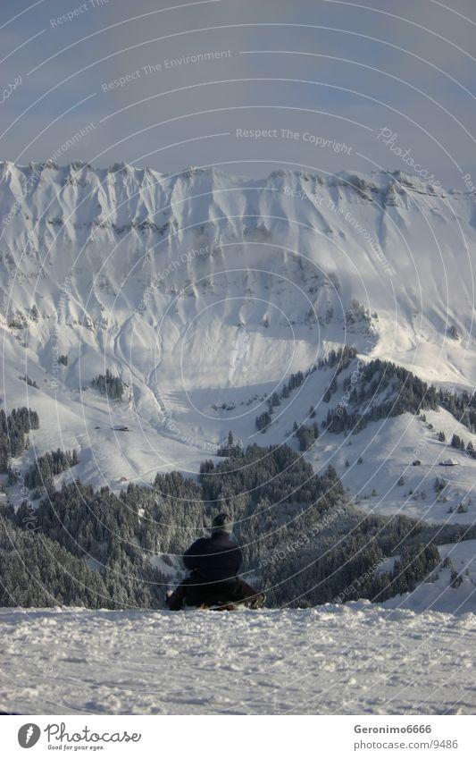 Man Joy Winter Snow Mountain Switzerland Sleigh