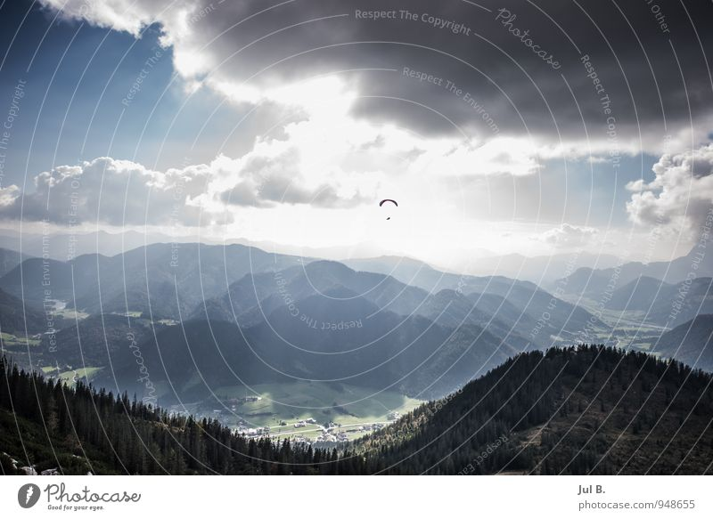 Human being Sky Nature Blue Landscape Clouds Joy Environment Mountain Sports Happy Flying Moody Air Weather Leisure and hobbies